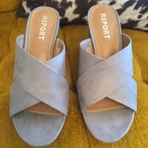 Report Wicker Grey Mules Size 7.5 NEW!